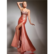 Sheath Sweetheart Long Coral Silk Glitter Evening Prom Dress With Beading Sequins