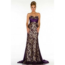 Sheath Sweetheart Long Dark Purple Satin Lace Special Occasion Prom Evening Dress