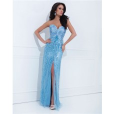 Sheath Sweetheart Long Light Blue Satin Tulle Sequin Sparkly Prom Dress With Slit