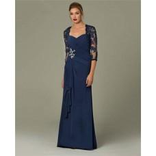 Sheath Sweetheart Long Navy Blue Chiffon Lace Sleeve Occasion Evening Dress