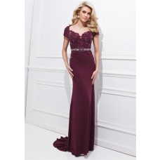 Sheath Sweetheart Open Back Long Burgundy Chiffon Lace Beaded Sleeve Evening Dress With Belt