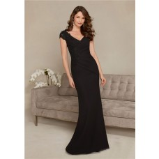 Sheath V Neck Cap Sleeve Long Black Chiffon Lace Mother Of The Bride Evening Dress