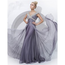 Sheath V Neck Cap Sleeve Long Charcoal Gray Ruched Chiffon Evening Prom Dress With Beading