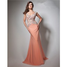 Sheath V Neck Cap Sleeve Long Coral Chiffon Beaded Prom Dress Open Back