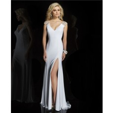 Sheath V Neck Cap Sleeve See Through Sheer Back Long White Chiffon Beaded Prom Dress