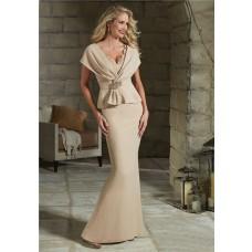 Sheath V Neck Champagne Crepe Peplum Evening Dress With Sleeves