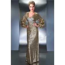 Sheath V Neck Empire Waist Backless Long Sleeve Champagne Sequin Beaded Evening Prom Dress