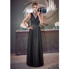 Sheath V Neck Long Black Chiffon Pleated Mother Of The Bride Evening Dress With Belt