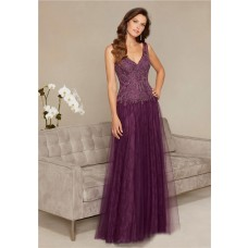 Sheath V Neck Long Eggplant Tulle Lace Beaded Special Occasion Evening Dress