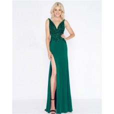 Sheath V Neck Low Back High Slit Green Jersey Beaded Prom Dress