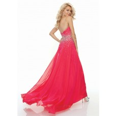 Sheath sweetheart floor length red chiffon prom dress with beading