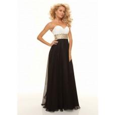 Sheath sweetheart floor length white black chiffon prom dress formal