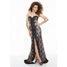 Sheath sweetheart front split long black lace prom dress