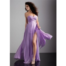 Sheath sweetheart long lilac chiffon flowy prom dress with split