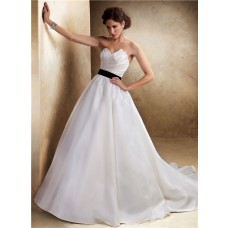 Simple A Line Asymmetrical Neckline Organza Wedding Dress With Black Sash Buttons