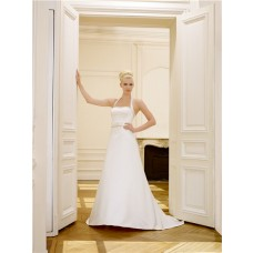 Simple A Line Halter Open Back Satin Wedding Dress With Beaded Bow Belt