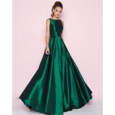 Simple A Line High Neck Full Back Emerald Green Taffeta Bridesmaid Prom Dress