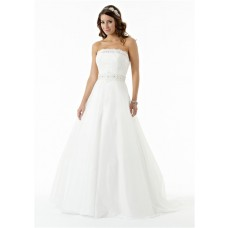 Simple A Line Princess Strapless Organza Lace Beaded Wedding Dress With Train