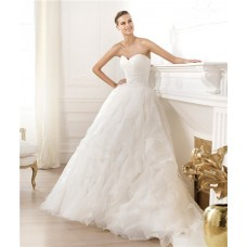 Simple A Line Princess Sweetheart Organza Ruffle Wedding Dress With Crystals