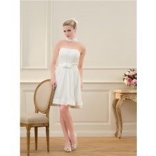 Simple A Line Strapless Chiffon Ribbon Short Beach Wedding Dress With Bow Belt