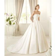 Simple A Line Strapless Ivory Satin Beaded Pearl Wedding Dress With Pockets