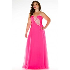 Simple A Line Strapless Long Neon Pink Chiffon Beading Plus Size Party Prom Dress