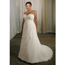 Simple A Line Sweetheart Corset Back Organza Beaded Plus Size Wedding Dress With Ruching