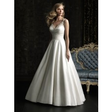 Simple A Line V Neck Taffeta Beaded Wedding Dress With Straps Bow Buttons