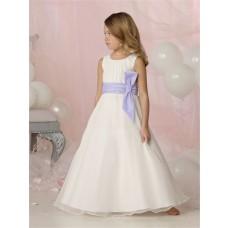 Simple A-line Princess Scoop Floor Length White Organza Wedding Flower Girl Dress With Sash