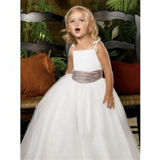 Simple A-line Princess Spaghetti Strap Floor Length White Tulle Flower Girl Dress With sash