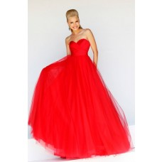 Simple A line Princess Sweetheart Long Red Tulle Prom Dress