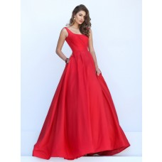 Simple Ball Gown Square Neck V Back Red Satin Prom Dress With Jackets