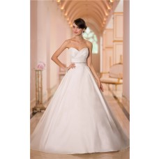 Simple Ball Gown Sweetheart Satin Ruched Wedding Dress With Crystals Belt