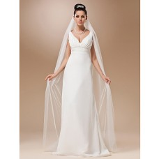 Simple Elegant One Layer Plain Tulle Chapel Wedding Bridal Veil