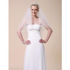 Simple Elegant Two Tier Elbow Tulle Wedding Bridal Veil