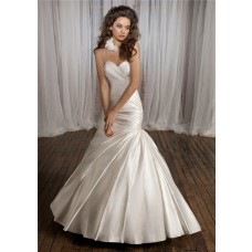Simple Fitted Mermaid Sweetheart Ruched Satin Wedding Dress Lace Up Back