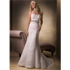 Simple Mermaid Strapless Lace Beaded Wedding Dress With Belt Corset Back