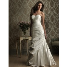 Simple Mermaid Sweetheart Ruched Satin Wedding Dress Lace Up Back