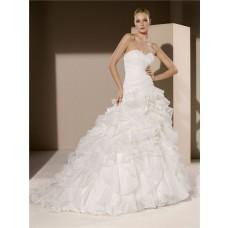 Simple Romantic Ball Gown Strapless Sweetheart Organza Ruffle Corset Wedding Dress