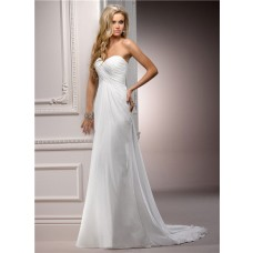 Simple Sheath Sweetheart Empire Waist Ruched Chiffon Beach Garden Wedding Dress