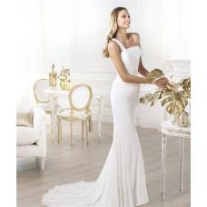 Simple Slim Mermaid One Shoulder Ruched Chiffon Destination Wedding Dress