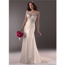 Slim A Line Illusion Bateau Neckline Cap Sleeve Low Back Chiffon Wedding Dress