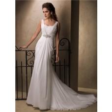 Slim A Line Sheath Empire Waist Chiffon Crystal Wedding Dress With Cowl Back