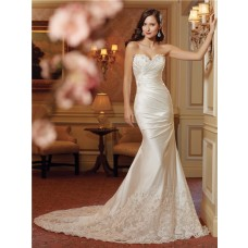 Slim A Line Strapless Corset Back Ruched Satin Lace Beaded Wedding Dress With Train