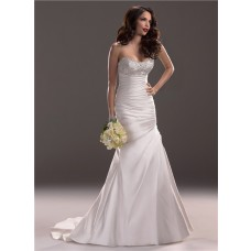 Slim A Line Strapless Scoop Neckline Satin Wedding Dress With Beading Ruching