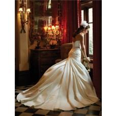 Slim A Line Sweetheart Ivory Satin Ruched Wedding Dress With Swarovski Crystal