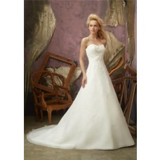 Slim A Line Sweetheart Organza Embroidered Wedding Dress With Train