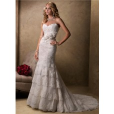 Slim A Line Sweetheart Scalloped Layered Lace Wedding Dress With Flower Feather