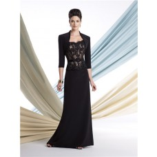 Slim Black Lace Chiffon Mother Of The Bride Evening Dress With Bolero Jacket