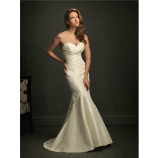 Slim Fitted Mermaid Sweetheart Ivory Taffeta Lace Wedding Dress With V Back